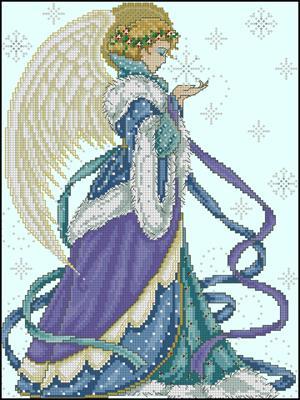 Рождественский ангел схема для вышивания крестом