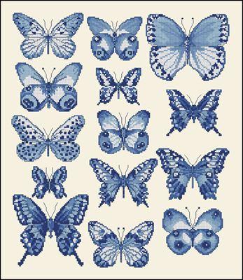 Коллекция голубых бабочек вышивка крестиком