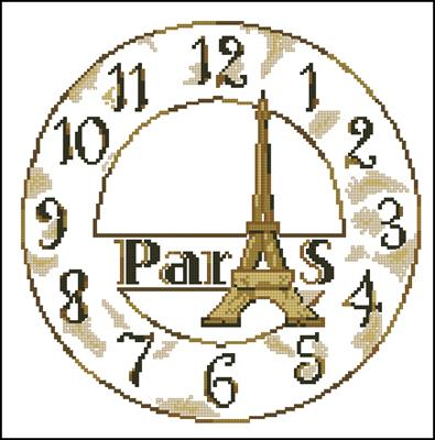Paris clock вышивка крестом