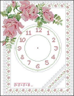 Pink Rose Clock схема вышивки крестом бесплатно