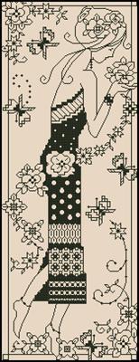 Девушка с цветами скачать сему вышивки