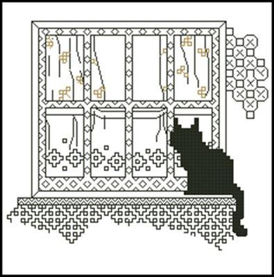 Кошка у окна схема вышивки крестом
