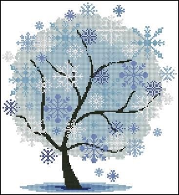 Зимнее дерево схема вышивки