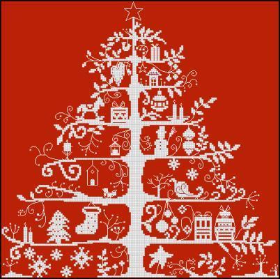 L'arbre aux cadeaux схема вышивки крестиком