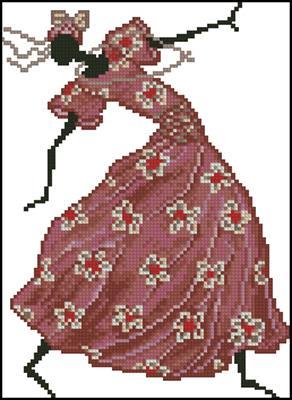 Африканка в красном платье схема вышивки крестиком