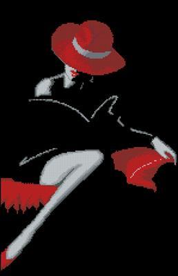 Дама в красной шляпе схема вышивка