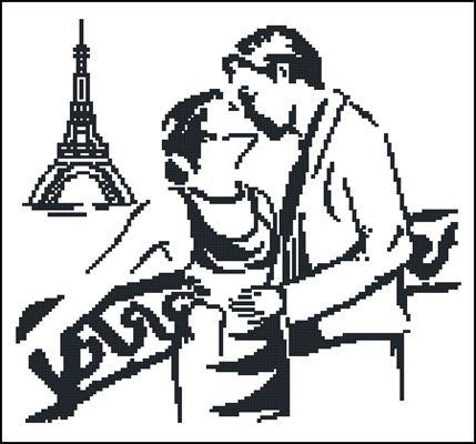 Вышивка черно белая поцелуй