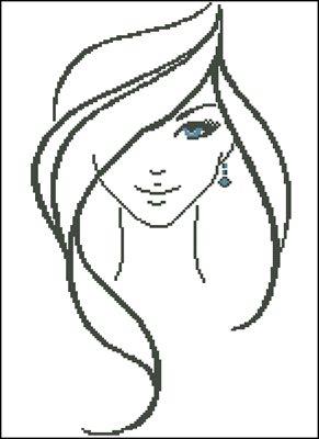 Девушка с голубыми глазами схема вышивки крестом