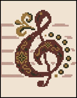 Музыкальные атрибуты схема вышивки крестом