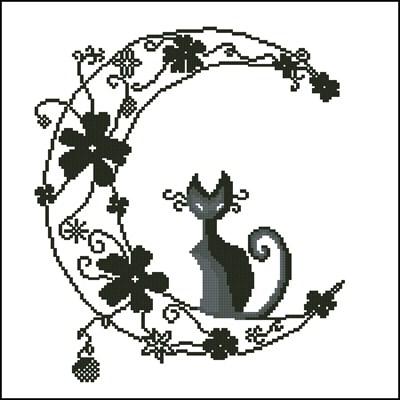 Луна и кот схема вышивки