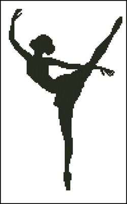 Черно белые схемы вышивки балерина