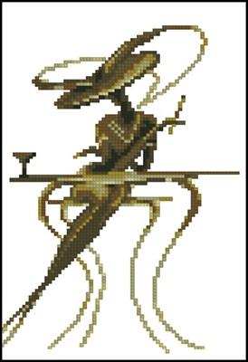 Дама за столиком вышивка крестом скачать схему