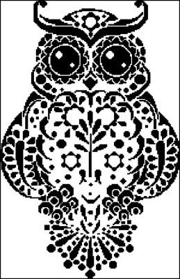Сова ч/б схема вышивки крестом