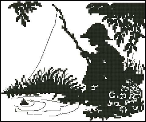 Юный рыболов схема вышивки