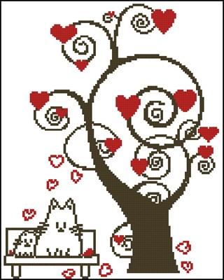 Кошачья любовь схема вышивки