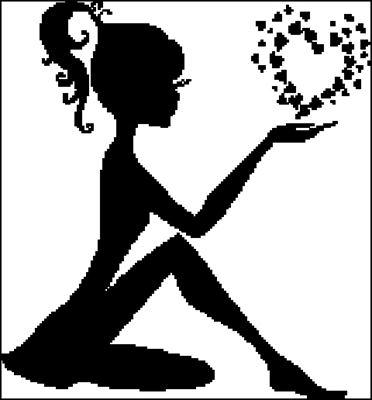 Девушка с сердцем схема вышивки крестом