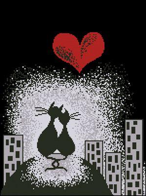 Влюбленные коты схема вышивки крестом
