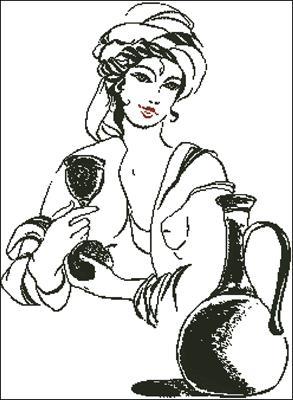 Девушка с вином схема вышивка скачать