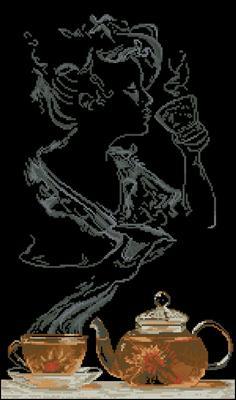 Чайная фантазия - Она схема вышивки крестиком скачать бесплатно