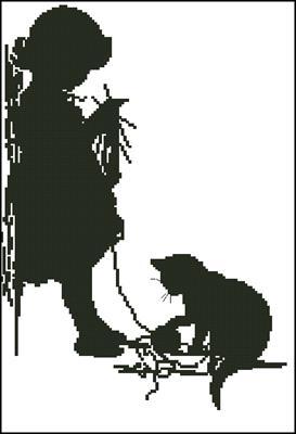Девочка с котиком схема вышивать