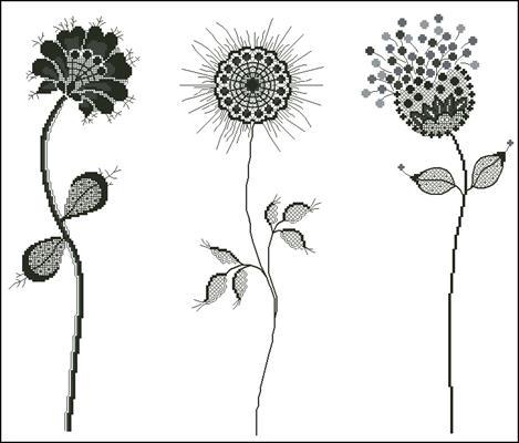 Three Black Backlace Flowers схема вышивки крестиком