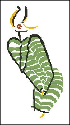 Дама в зеленом схема вышивка скачать