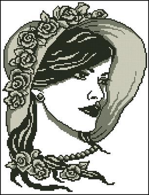 Дама в шляпке вышивка