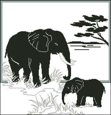 Слоны, монохром скачать схема