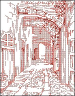 Pink Landscape 1 схема вышивки крестом