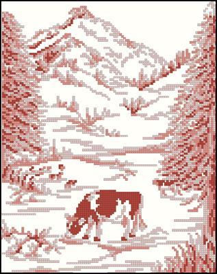 Pink Landscape 3 схема вышивки крестиком