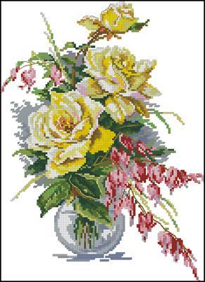 Yellow Roses вышивка крестиком