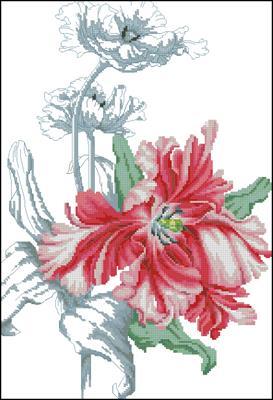 Red Tulip вышивка схема скачать крестом