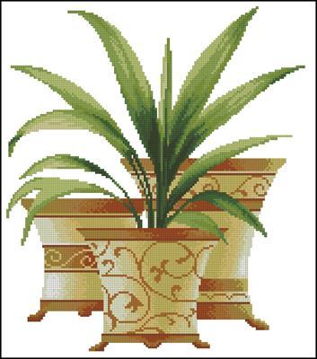 Три пальмы. Юка бесплатно схема вышивки