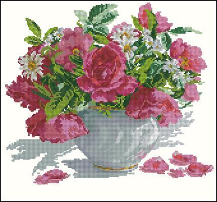 Розы и ромашки схема вышивка скачать