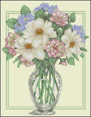 Flowers in Tall Vase схема вышивки крестиком