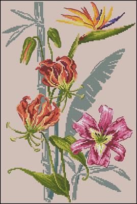 Fleurs Tropicales схема вышивки крестиком