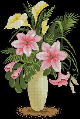 Цветы в вазе схема вышивки крестиком скачать бесплатно
