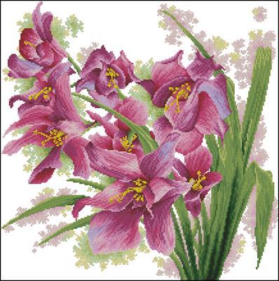Лиловые орхидеи схема вышивки бесплатно скачать