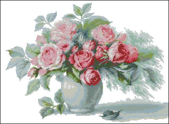 Этюд с чайными розами вышивка крестиком схема