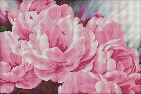 Pink peonies схема вышивки крестиком
