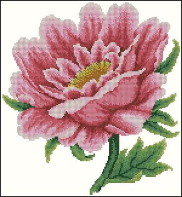 Pink flower схема вышивки крестиком
