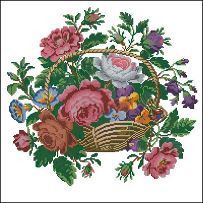 Цветочки в корзинке вышивка крестом