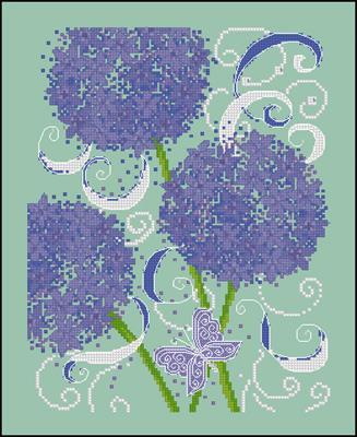 Фиолетовые одуванчики схемы вышивок