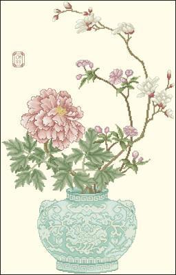 Нежный цветочек в старинной вазе схема вышивки крестиком