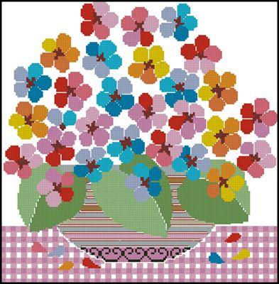 Цветочный фейверк схема вышивки крестиком