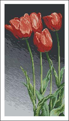 Красные тюльпаны вышивка схема крестиком