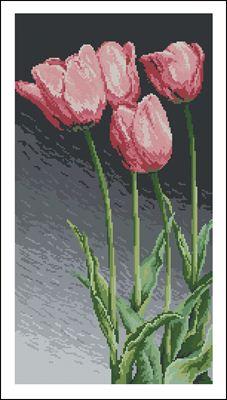 Розовые тюльпаны вышивка крестиком