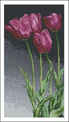 Лиловые тюльпаны схема вышивки крестиком