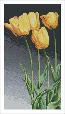 Желтые тюльпаны крестиком схема