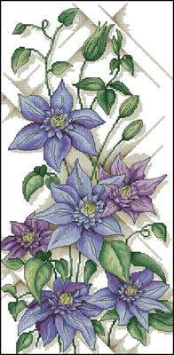 Clematis Multi Blue схема вышивки крестом скачать бесплатно